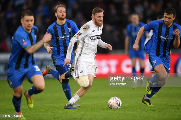 Swansea striker Oli McBurnie in action during the FA Cup Fourth Round match between Swansea City and Gillingham at Liberty Stadium on January 26 2019...