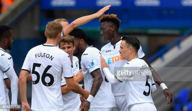 Swansea striker Tammy Abraham celebrates after scoring the opening goal during the Pre Season Friendly match between Birmingham City and Swansea City...