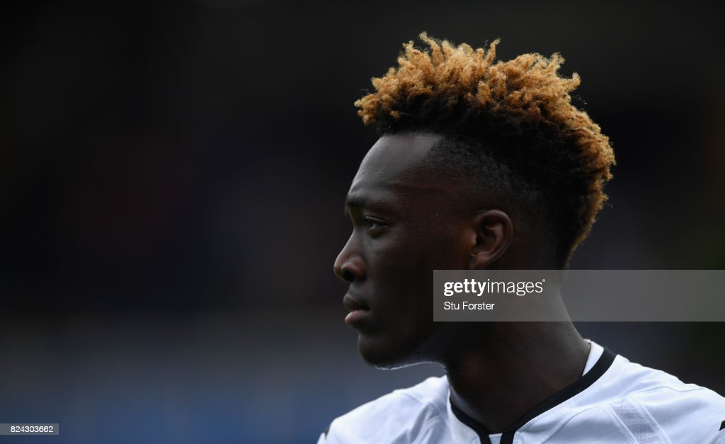 Swansea striker Tammy Abraham in action during the Pre Season Friendly match between Birmingham City and Swansea City at St Andrews (stadium) on July 29, 2017 in Birmingham, England.