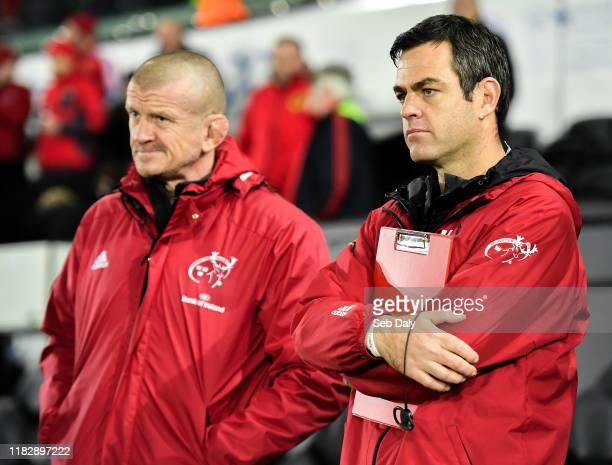 Swansea , United Kingdom - 16 November 2019; Munster head coach Johan van Graan, right, and forwards coach Graham Rowntree during the Heineken...