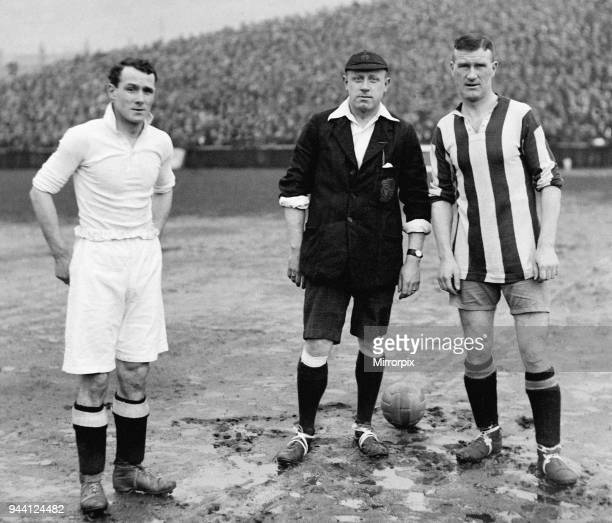 Swansea v Stoke FA Cup Tie Joe Sykes of Swansea with referee P Harper and Bob McGrory seen here at the kick off of their FA Cup tie 30th January 1926