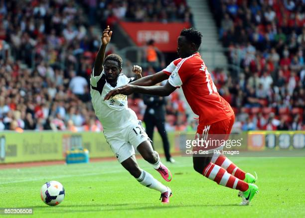 Swansea's Nathan Dyer and Southampton's Victor Wanyama battle for the ball during the Barclays Premier League match at St Marys Southampton