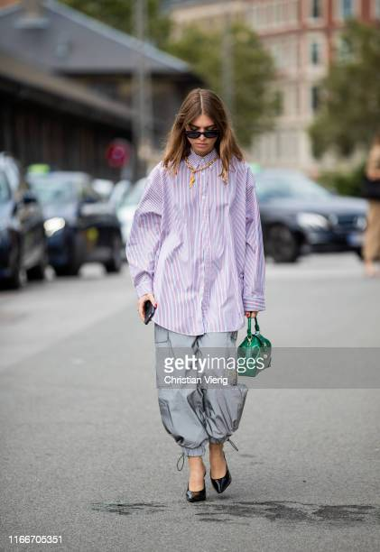 Swantje Sömmer is seen outside Holzweiler during Copenhagen Fashion Week Spring/Summer 2020 on August 07 2019 in Copenhagen Denmark