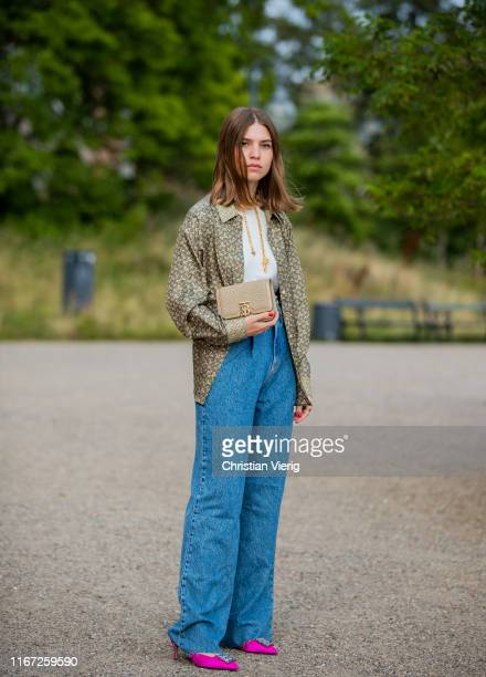 Swantje Sömmer is seen wearing button shirt denim jeans outside Samsøe Samsøe during Copenhagen Fashion Week Spring/Summer 2020 on August 07 2019 in...