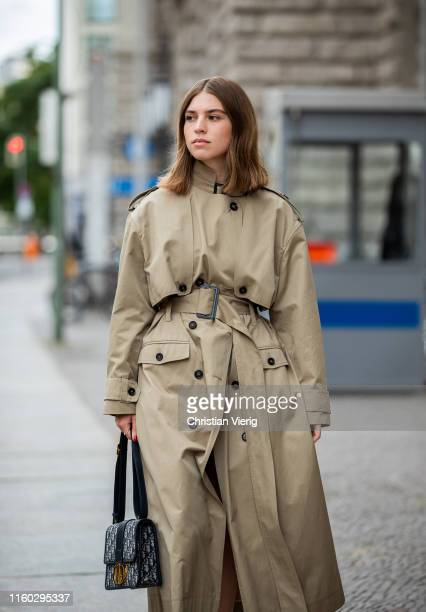 Swantje Sömmer is seen wearing trench coat, Dior bag outside Nobi Talai during Berlin Fashion Week on July 04, 2019 in Berlin, Germany.