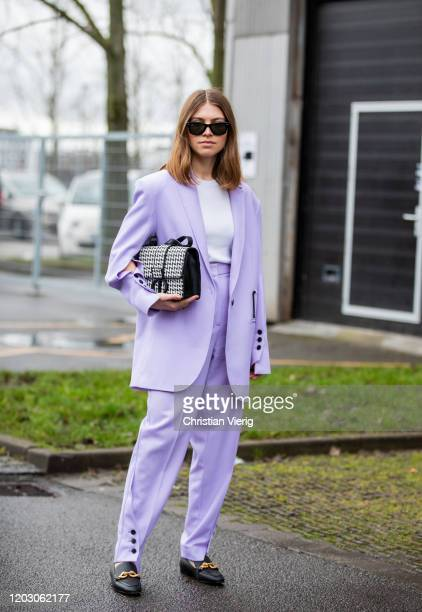 Swantje Sömmer wearing pink suit, Dior bag seen outside Lala Berlin during Copenhagen Fashion Week Autumn/Winter 2020 Day 3 on January 30, 2020 in...