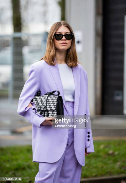 Swantje Sömmer wearing pink suit Dior bag seen outside Lala Berlin during Copenhagen Fashion Week Autumn/Winter 2020 Day 3 on January 30 2020 in...