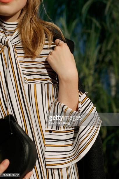 Swantje Soemmer detail attends the Dorothee Schumacher show during the MercedesBenz Fashion Week Berlin Spring/Summer 2018 at Kaufhaus Jandorf on...