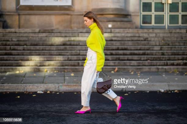 Swantje Soemmer is seen wearing neon turtleneck knit Zara white high waist pants Sportmax brown Dior saddle bag pink Paul Andrew slingbacks shoes on...