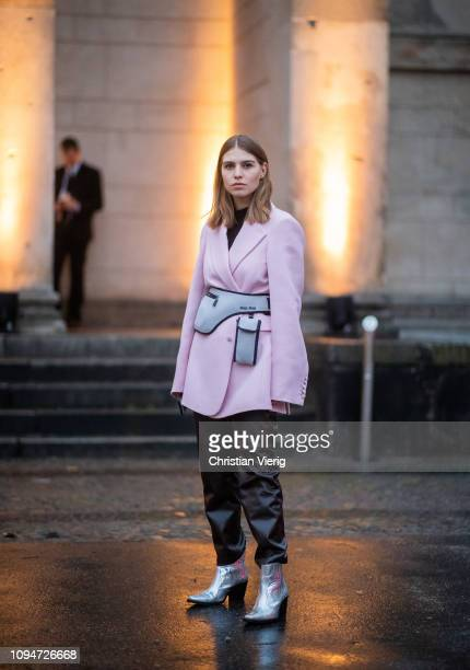Swantje Soemmer is seen wearing pink blazer leather pants silver ankle boots Miu Miu belt bag during the Berlin Fashion Week Autumn/Winter 2019 on...