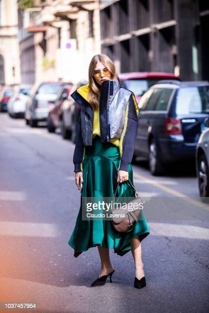 Swantje Soemmer wearing Sportmax gilet jacket green skirt and Dior brown bag is seen before the Sportmax show during Milan Fashion Week Spring/Summer...