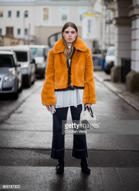 Swantje Soemmer wearing yellow HM trend jacket blouse and pants Sportmax Longchamp bag Zara ankle boots is seen outside Der Berliner Modesalon during...