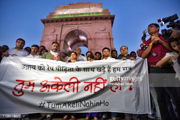 Swaraj Abhiyan leader Yogendra Yadav along with supporters gathered for a silent protest in solidarity with the Unnao rape case victim, at India Gate...