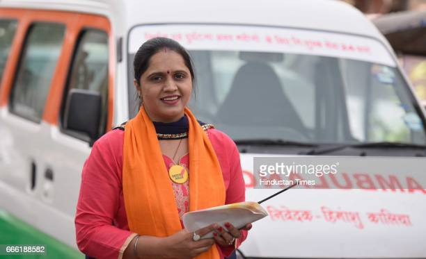 Swaraj India Party candidate and First Lady Ambulance Driver Twinkle Kalia during the Municipal Election campaign at Balbir Nagar Shahdara on April 8...