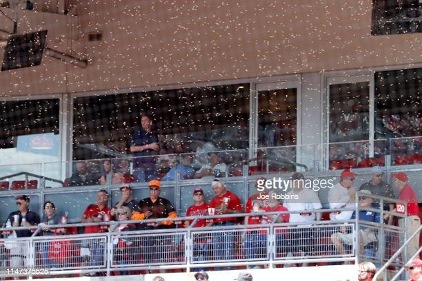 A swarm of bees delays the start of the game between the Cincinnati Reds and San Francisco Giantsat Great American Ball Park on May 6 2019 in...