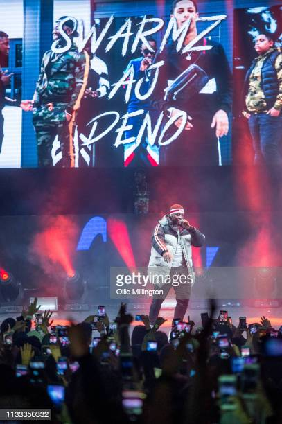Swarmz performs on stage during GRM Daily Presents The Rated Legend Tribute Show In Memory Of Cadet at Brixton Academy on March 2 2019 in London...