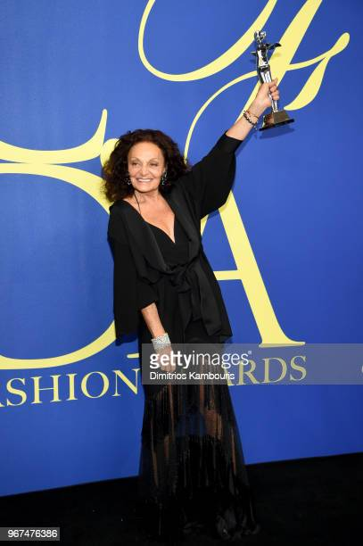 Swarovski Award for Positive Change winner Diane Von Furstenberg attends the 2018 CFDA Fashion Awards Winners Walk at Brooklyn Museum on June 4 2018...
