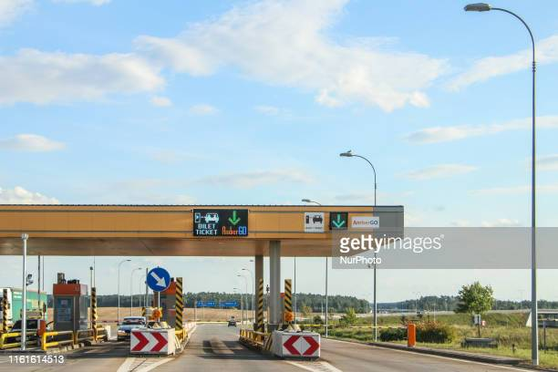 Swarozyn tool plaza with dedicated AmberGo gate is seen on A1 AmberOne motorway in Swarozyn Poland on 13 August 2019 AmberGO fully launched by the...