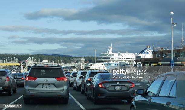 swartz bay ferry terminal, vancouver island, canada - ferry stock pictures, royalty-free photos & images