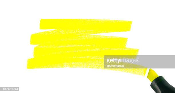 swash of a highlighter pen, isolated on white. - highlights stock pictures, royalty-free photos & images