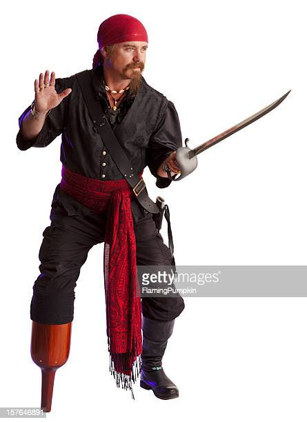 swashbuckling pirate with sword and peg-leg. isolated on white. - pirate stock photos and pictures