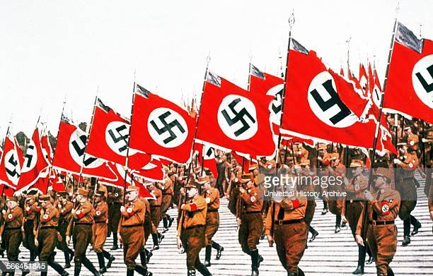 Swastika adorned flags carried at a Nazi Rally in Germany 1934