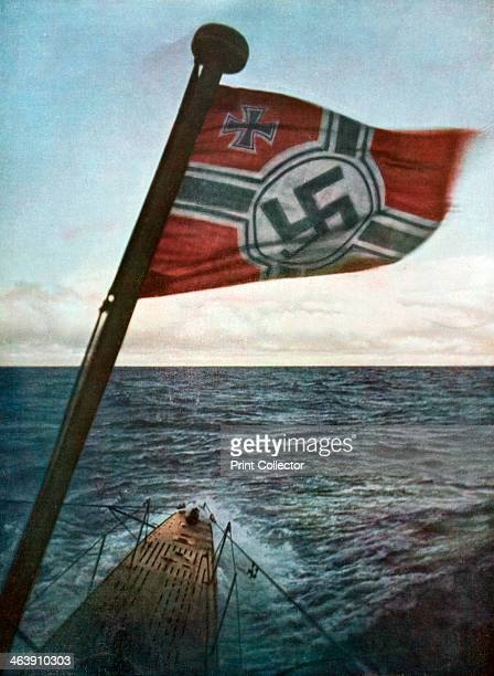 Swastika flying on a German submarine in the North Atlantic, 1941. A print from the Signal, Febuary 1942. Signal was a magazine published by the...