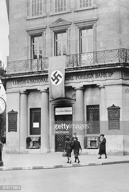 Swastika flying over Lloyds national and provical Bank An English house in Paris after German occupation