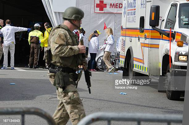 Swat Team guarding the medical tents for the bombing victims