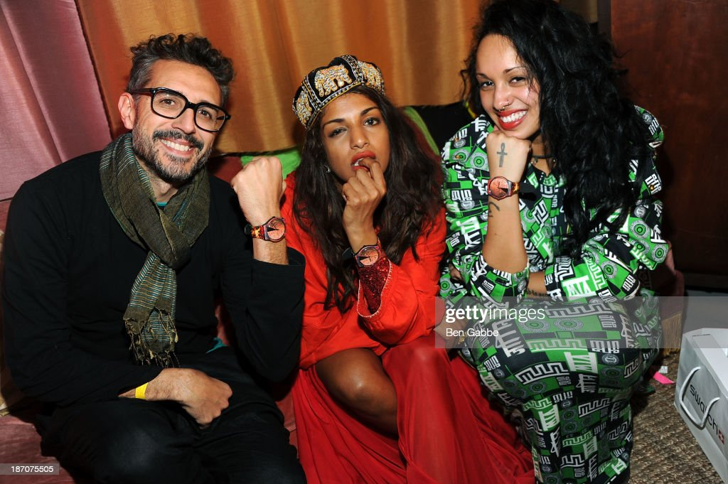 Swatch artist Jose Carlos Casado, M.I.A. and Venus X attend the Soho House Satellite Nights series with M.I.A. on November 5, 2013 in Brooklyn, New York.