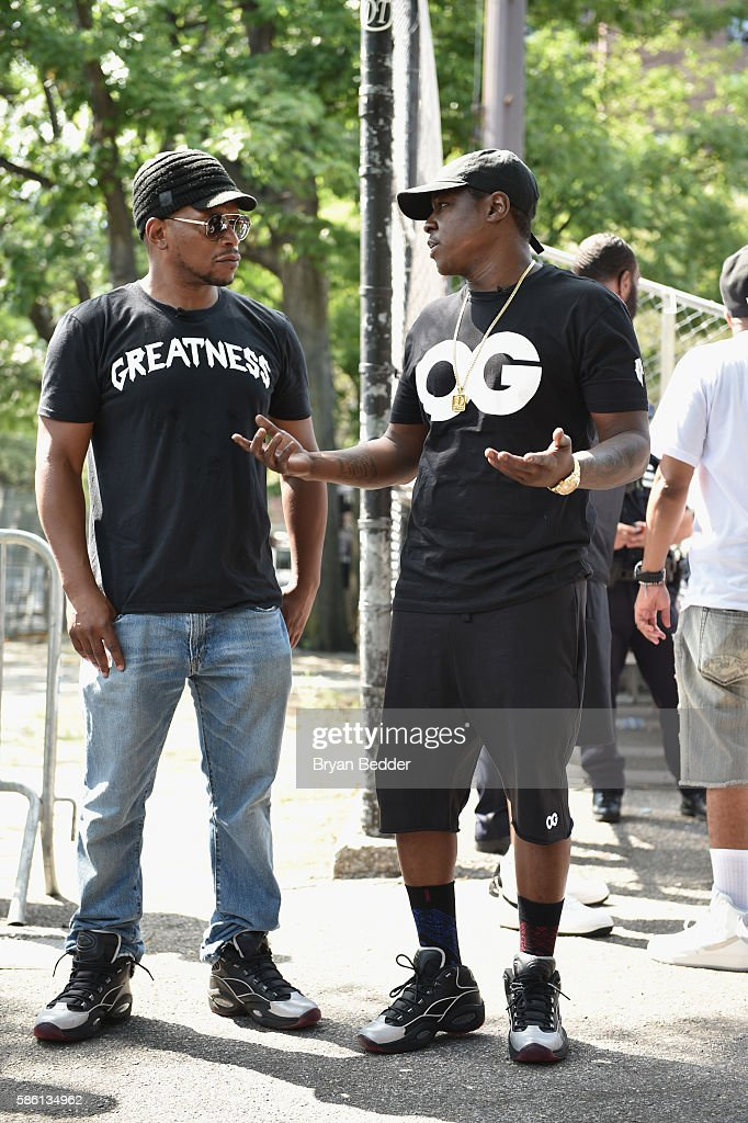 Sway and Jadakiss attend the Launch of the new Reebok Question Mid EBC & A5 with Cam'ron and Jadakiss at Rucker Park on August 4, 2016 in New York City.