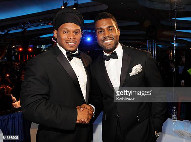Sway and Kanye West at MTV and ServiceNation's 'Be the Change Live From The Inaugural Ball' at the Washington Hilton on January 20 2009 in Washington...