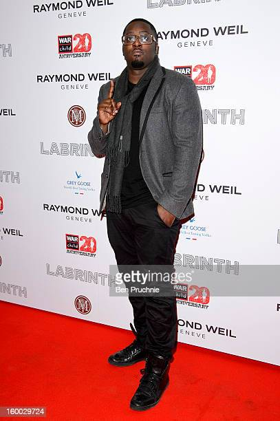Sway attends the Raymond Weil preBrit Awards dinner and 20th anniversary celebration of War Child at The Mosaica on January 24 2013 in London England