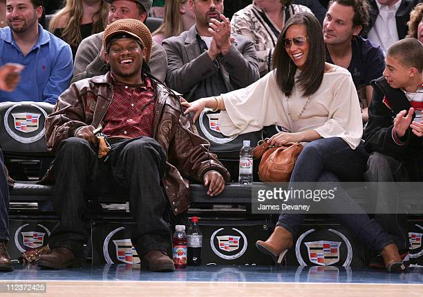 Sway Calloway and Alicia Keys during Celebrities Attend Minnesota Timberwolves vs New York Knicks Game April 6 2007 at Madison Square Garden in New...