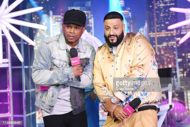"""Sway Calloway and DJ Khaled pose in activation as """"MTV Presents: Khaled Con,"""" a DJ Khaled-hosted fan event in MTV's Times Square Studio, celebrating..."""