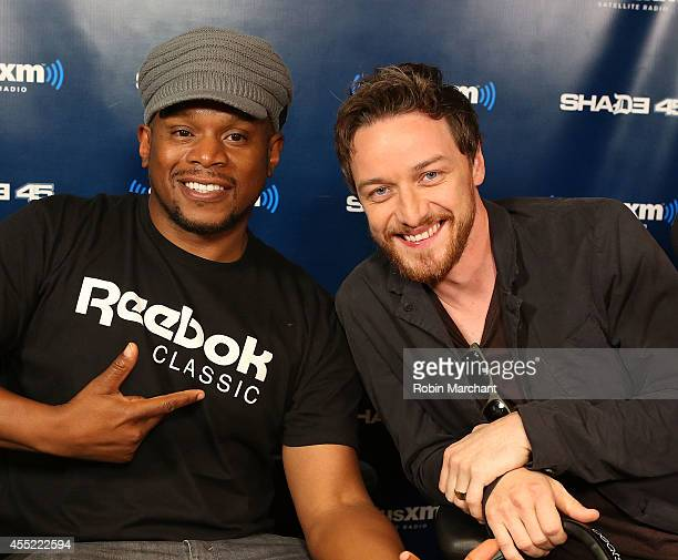 Sway Calloway and James McAvoy visit 'Sway in the Morning' at SiriusXM Studios on September 10 2014 in New York City