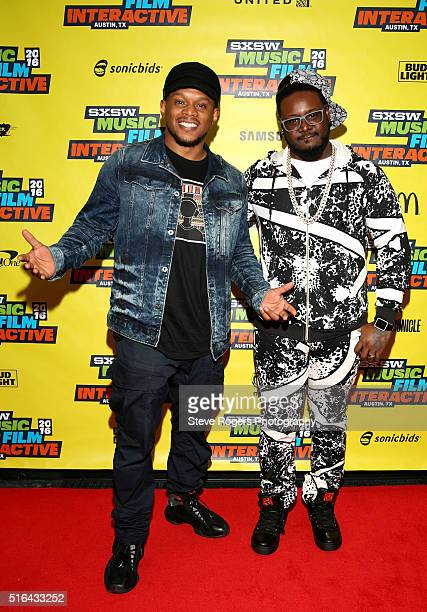Sway Calloway and TPain attend the TPain music panel during the 2016 SXSW Music Film Interactive Festivalon March 18 2016 in Austin Texas