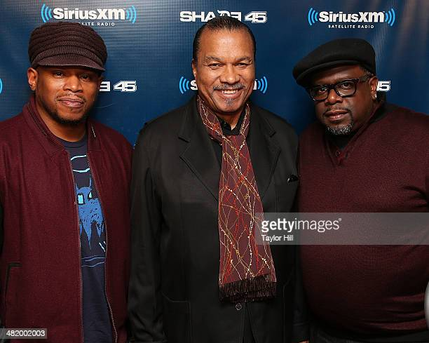 Sway Calloway Billy Dee Williams and Cedric the Entertainer visit 'Sway in the Morning' at SiriusXM Studios on April 2 2014 in New York City