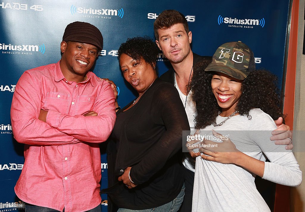 Sway Calloway, Heather B, Robin Thicke and Tracy G. during 'Sway in the Morning' on Eminem's Shade 45 channel' at SiriusXM Studios on July 29, 2013 in New York City.