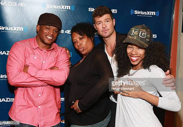 Sway Calloway Heather B Robin Thicke and Tracy G during 'Sway in the Morning' on Eminem's Shade 45 channel' at SiriusXM Studios on July 29 2013 in...