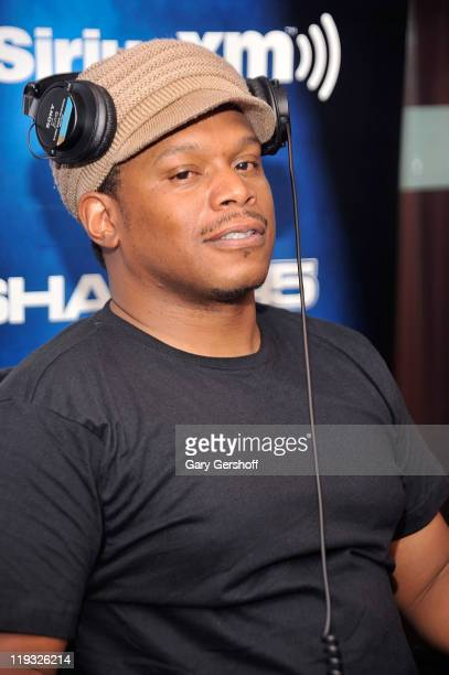 Sway Calloway hosts the first day of his new show Sway in the Morning on Eminem's Shade 45 channel at SiriusXM Studio on July 18 2011 in New York New...