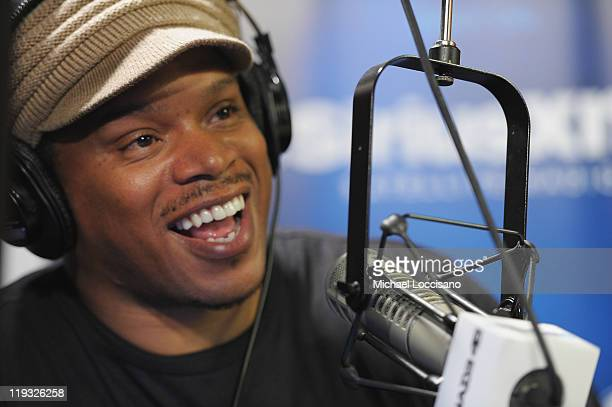 Sway Calloway hosts the first day of his new show 'Sway in the Morning' on Eminem's Shade 45 channel at SiriusXM Studio on July 18 2011 in New York...
