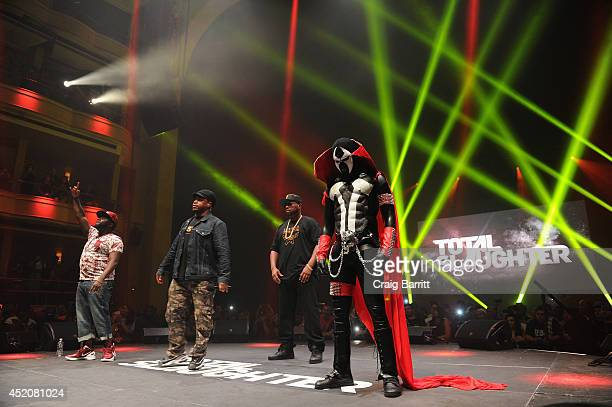Sway Calloway hosts while T Rex and Daylyt compete at Total Slaughter hosted by Shady Films and WatchLOUDcom at Hammerstein Ballroom on July 12 2014...