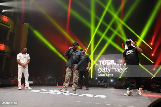 Sway Calloway Loaded Lux and Murda Mook perform at Total Slaughter hosted by Shady Films and WatchLOUDcom at Hammerstein Ballroom on July 12 2014 in...