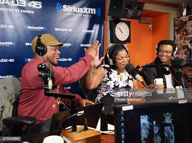 Sway Calloway Mo'Nique and Julian Walker visit 'Sway in the Morning' with Sway Calloway on Eminem's Shade 45 at SiriusXM Studios on April 20 2015 in...