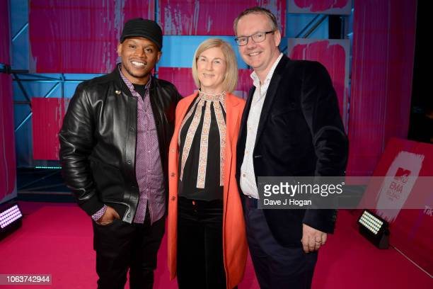 Sway Calloway with VIMN president CEO David Lynn and his wife Ann attend the MTV EMAs 2018 at the Bilbao Exhibition Centre on November 04 2018 in...