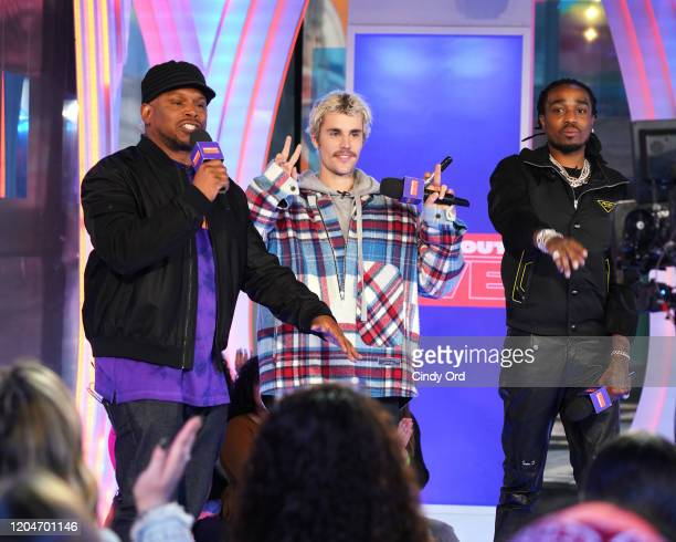 """Sway, Justin Bieber and Quavo appear onstage at MTV's """"Fresh Out Live"""" on February 07, 2020 in New York City."""