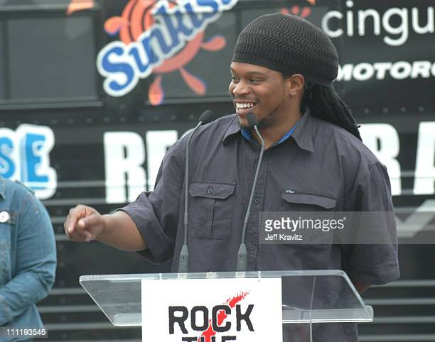 Sway of MTV during Rock the Vote 2004 National Bus Tour Press Conference at Avalon Parking Lot in Hollywood California United States