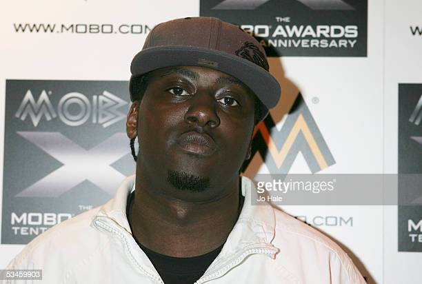 Sway poses in front of press room board at the Nominations and launch of the 2005 MOBO Awards at the Connaught Rooms on August 24 2005 in London...