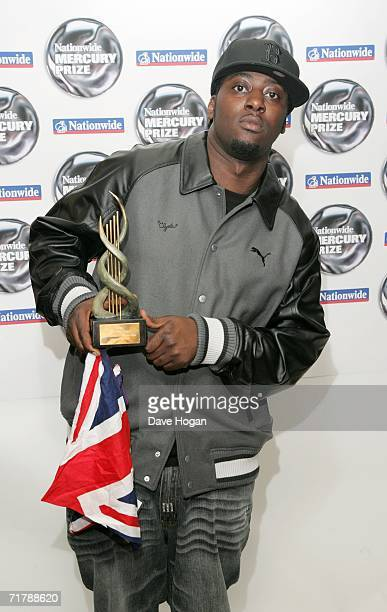 Sway poses with the nominee award for 'This Is My Demo' at the annual Nationwide Mercury Prize music awards ceremony at Grosvenor House on September...